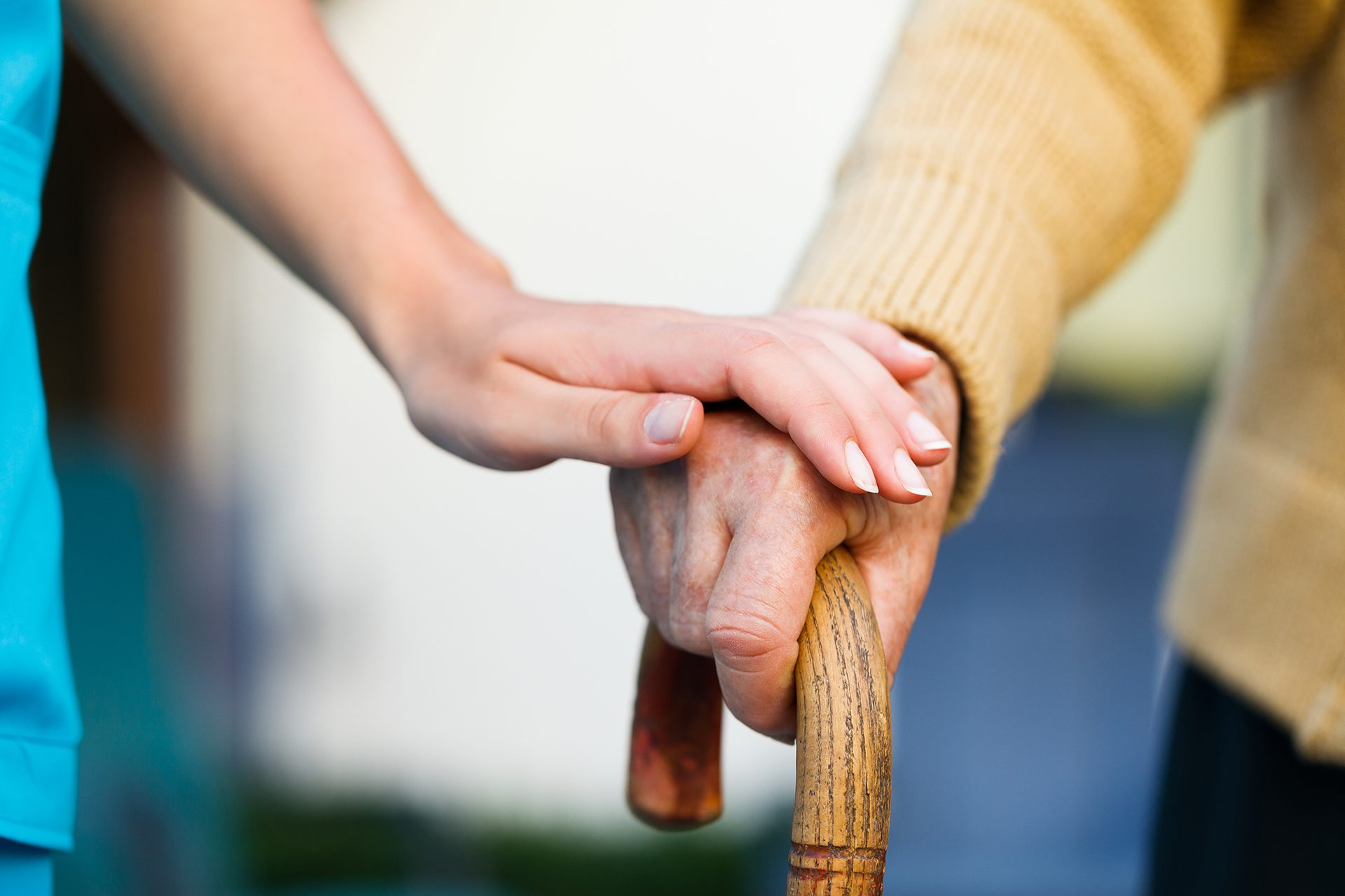 Carer and Resident\'s Hands
